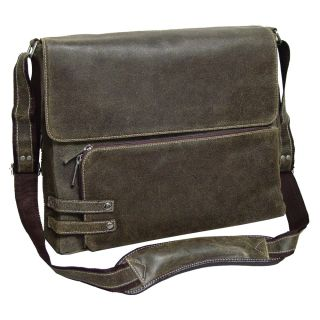 Bellino The Dean Distressed Leather Messenger Bag Brown