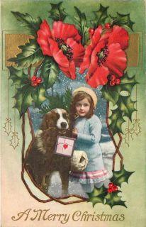 Christmas Victorian Girl Saint St Bernard Dog Art Nouveau Poppies