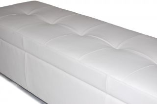 King Size White Leather Tufted Storage Bench Chest Ottoman