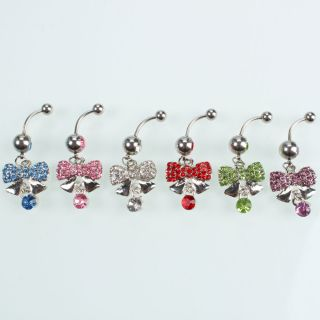Crystal Dangle Bars Silver plated Navel Belly Button Ring Body Jewelry