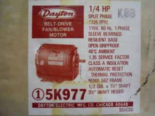 Dayton 5K977 Belt Drive Fan Blower Motor