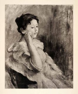 1936 Photolithograph Berthe Morizot Girl Head Portrait Woman Dress