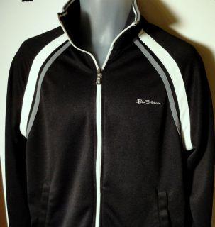 BEN SHERMAN Mens Jacket Black White Gray Trim Size Medium 100