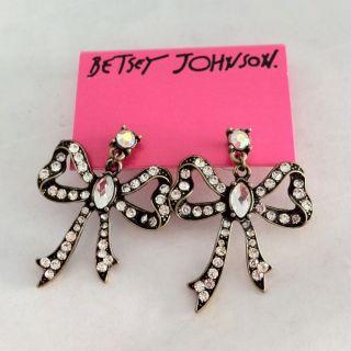 Betsey Johnson Bronze Bling Rhinestone Big Bowknot Stud Earring New On