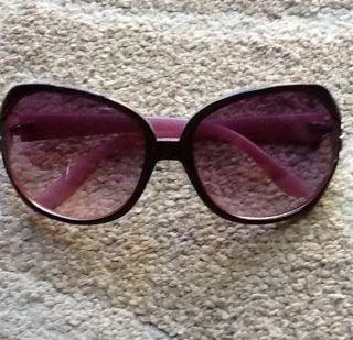 Betsey Johnson Sunglasses Rose Pink Lens Black Frame