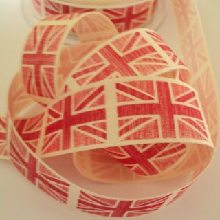 3M Length Red Union Jack Rustic Design Fabric Ribbon 2012 Vintage