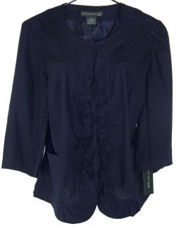 New Harve Benard Feminine Navy Ruffle Blazer Jacket Womens Plus Size