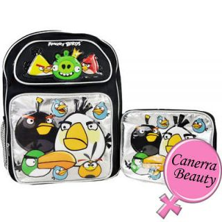 angry birds and king pig 16 inch large school backpack lunch bag 2pc