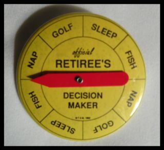 Vintage Official Retirees Decision Maker Spin 4 Fish Sleep Golf Nap