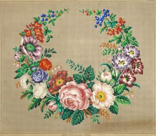 ANTIQUE HAND PAINTED BERLIN WOOLWORK FLORAL EMBROIDERY PATTERN