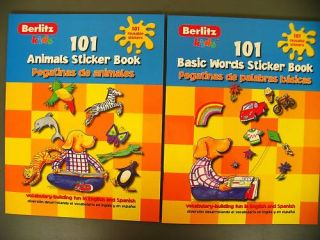Lot 2 Berlitz Spanish English Learn Words kids sticker books
