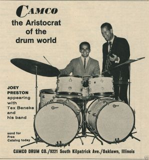 Aristocrat Drums Double Bass Joey Preston Tex Beneke Vintage Ad