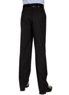 Berle Mens Dark Charcoal Dress Pants Worsted Wool Pleated Trousers