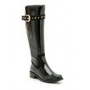 BNIB Clarks Ladies Black Patent Leather Knee High Boots Karaoke Tune