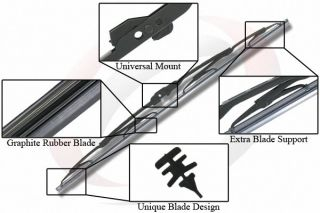 Two 18 inch Front Windshield Wiper Blades Streak Free