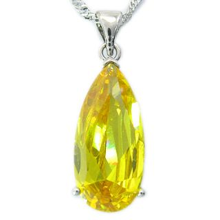 Pear Cut Yellow Citrine White Gold GP Pendant Necklace