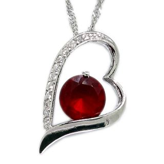 Red Ruby White Gold 18GP Pendant Necklace Neck Chain
