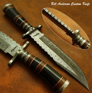 Bill Andersons 1 of A Kind Custom Damascus Bowie Knife Real Bull Horn