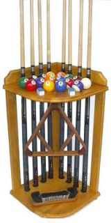 Pool Cue Billiard Stick Corner Rack   Stand Holds 8 Cues and Ball Set