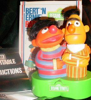 Vintage Bert N Ernie Sesame Street Portable AM Radio w Box Instns 1976