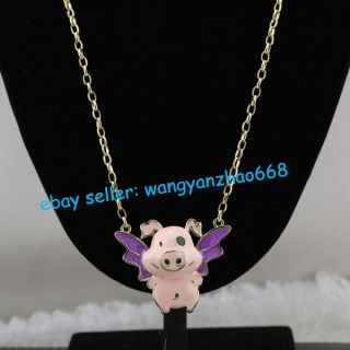 Betsey Johnson Lovely Flying Pig Long Gold Plated Necklace with Tag