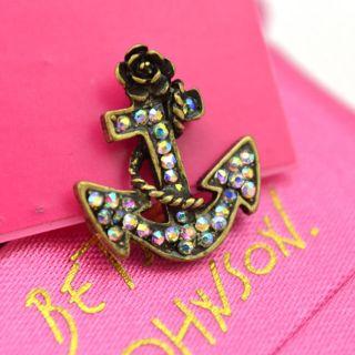 Original Betsey Johnson Mini SHIP Anchor Earrings JB26