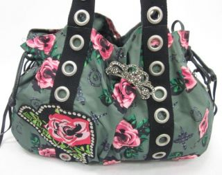 on a betseyville betsey johnson green pink rose tote bag this bag