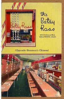 C1940 Betsy Ross Hollywood CA Restaurant Linen PC Near Graumans