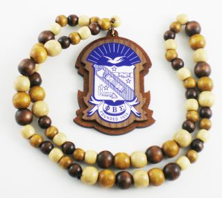 PHI Beta Sigma Wood Bead Tiki Shield Crest Necklace