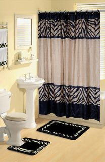 Zebra Safari Animal Print 17 Pc Bath Rug Shower Curtains Hooks Towel