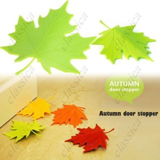 Natural Style Autumn Maple Leaf Shaped Door Stopper Wedge Red Yellow