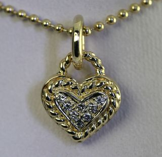 10ct Etruscan Diamond Pave Heart Rope Detail 14k Yellow Gold Pendant
