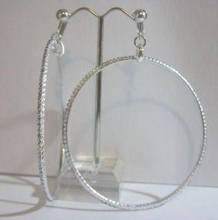 Glitter Thin Large Hoop Earrings J237 Juicebox Jewels USA