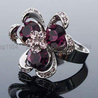 7ct Purple Cubic Zirconia Big Flower Ring 93298