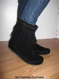 ankle short bootie MOCCASIN sueded FRINGE BOOTS black NEW 8.5