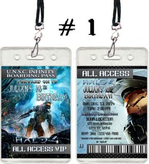Halo 4 Birthday Party Ticket Invitations VIP PASSES and Favors UPRINT