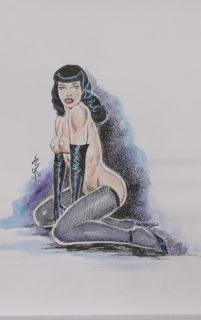 NEWTON BURCHAM Original Art   BETTIE PAGE / BETTY (Signed)
