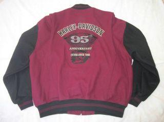 Harley Davidson Jacket 95th Anniversary Wool Varsity Letterman Bomber