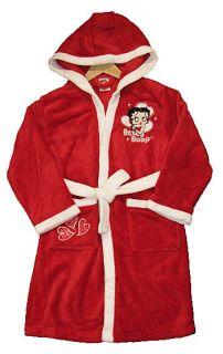 Betty Boop Dressing Gown Bath Robe Beach Swimming Red New Hood Snug