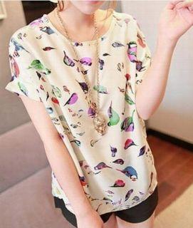 Fashion Colorful Birds Chiffon T Shirt Loose Bat Shirtshort
