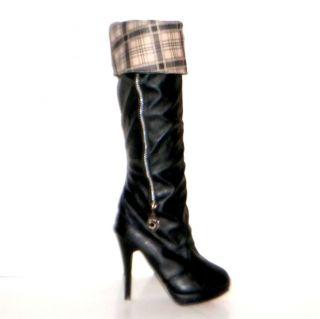 Brand New Women Sz 6 5 High Heel Bianca Boots in Stylish Black Faux