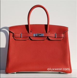Birkin Eclat Sanguine White Clemence Silver 35cm Hermes Birkin Bag