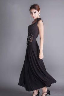 Gorgeous Black Floral Flamenco Latin Guo Biao Ballroom Dance Dress