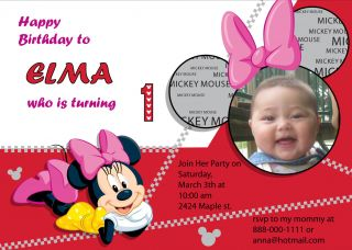 Personalized Disney Minnie Mickey Birthday Party Invitation U Print