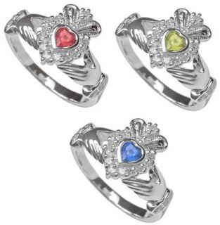 Claddagh Birthstone Ring July August September Irish Sz Celtic