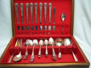 William Rogers & Son 47 Pc Set Silverplate Flatware April With Box