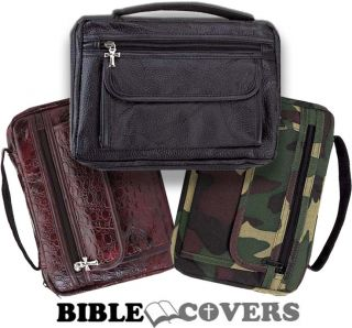 Bible Cover Book Case Tote Leather Bag Brown Black Camo Camoflauge