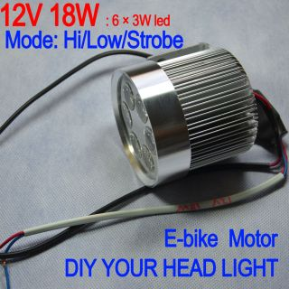 led head light white e bike electric bike motor bicycle Hi Low Strobe