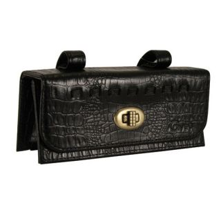 Crocodile Leather 2 Compartment Tool Bag Bicycle Seat Bag Black