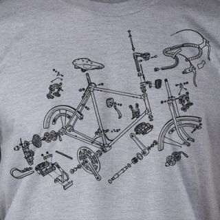 Bike Parts Retro Bicycle Biking Sport Funny Athletic Geek Shirt T